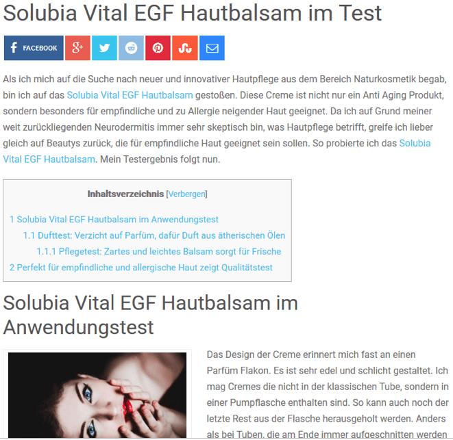 Anja Lange: Solubia Vital EGF Hautbalsam im Test 1 -